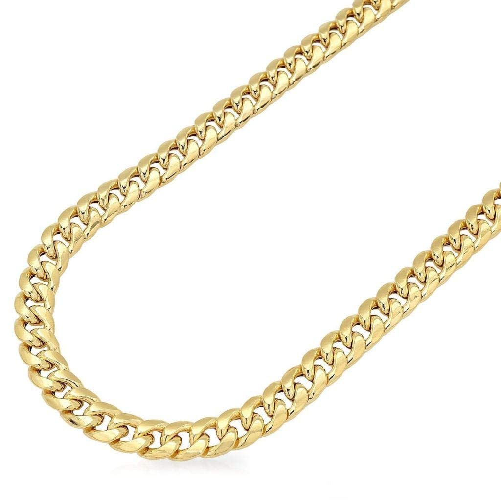 14K Yellow Gold 6mm Wide Miami Cuban Hollow Link Chain Necklace Box Clasp 22-34'', 24