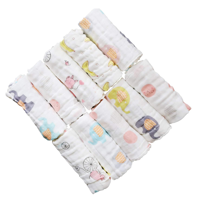 ViVidLife D/ébarbouillettes de Bain pour B/éb/é 10 PCS B/éb/é Faciale Serviette de Bain de Toilette Carr/ée Coton Infantile de Bande Dessin/ée B/éb/é Bandana Lingettes en Mousseline pour Enfants 30 *