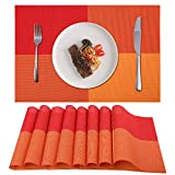 Akway Placemats Set of 8 Washable Table Mats Cup Mat Heat/Stain Resistant Place Mats for Dining Table, Orange CD2-JU-8