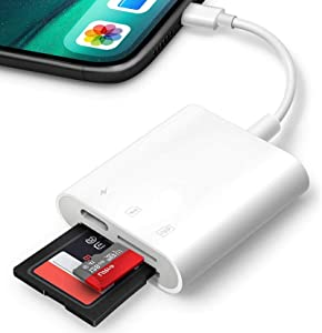 Apple MFi Certified Lightning to SD Card Camera Reader for iPhone iPad, 3 in 1 SD/Micro SD Memory Card Reader Adapter with Charging Port, Trail Game Camera Viewer with Dual Card Slot, Plug and Play