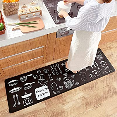 Ustide Classic Anti Fatigue Kitchen Comfort Chef Floor Mat 17 7 X59 Linen Cardinal Stain Resistant Surface With 1 4cm Thickness Gel Core For Health