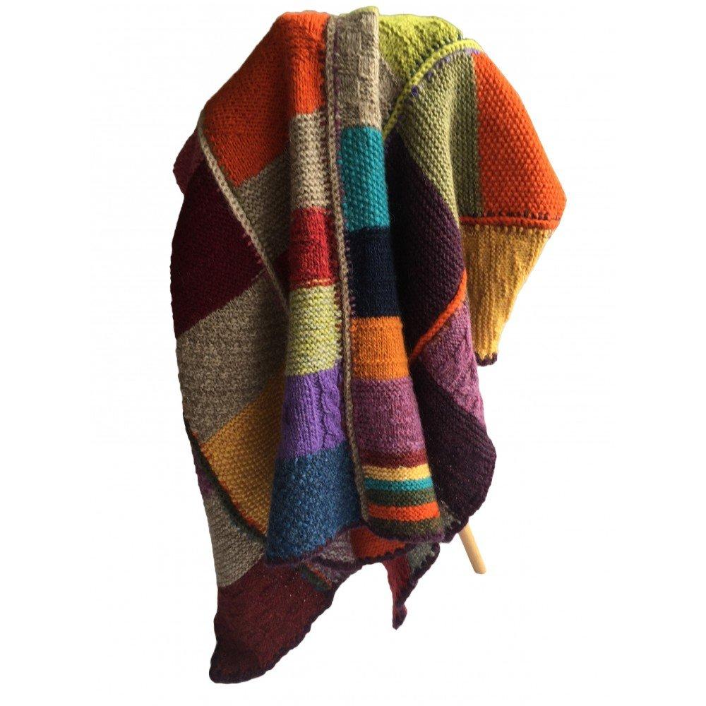Cosy hand-knitted 100 %ウール毛布ヴィンテージスタイル 64,9x51,18 B01AGL5OV2 マルチ