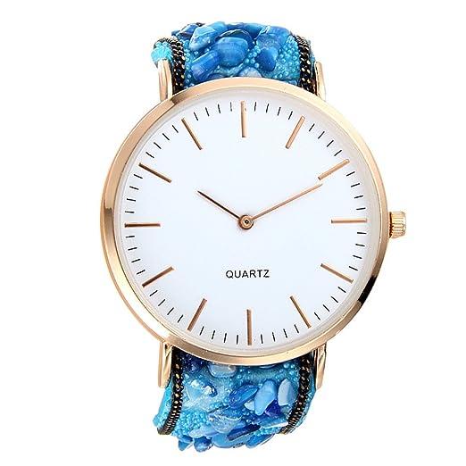 Reloj, poto 2017 nuevos mujeres moda lujo Mariposa analógico cuarzo piel banda reloj de pulsera regalo: Amazon.es: Relojes