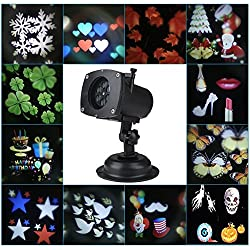 Valentine's Light projector with 12 interchangeable LED image lens - Built-in timer Waterproof, Indoor and Outdoor Use for Christmas, Halloween, St Patrick's Day, Birthday, Valentine's Day, Weddings