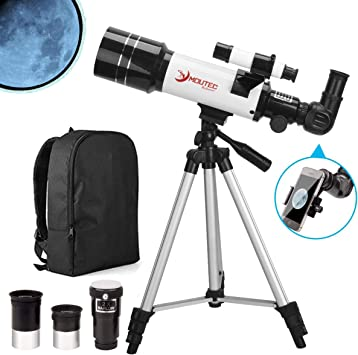 Prelly Astronomical Refractor Telescope for Kids Travel Telescope for Adults with Backpack and Phone Mount.