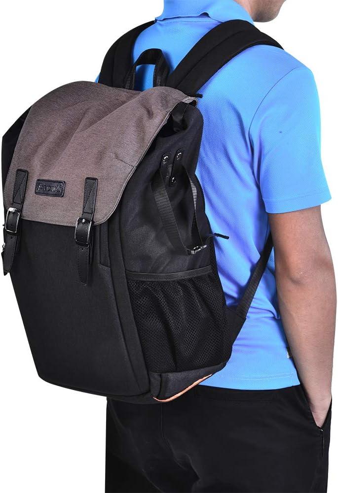 Acouto Nylon Waterproof Camera Storage Backpack Wear-Resistant Shockproof Shoulder Bag for DSLR Camera Dark Brown