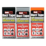 REDITAPE Travel Size Flat Fold Duct Tape | Multi-Pack Gaffer Tape: Black, Orange, Silver | 3 Pack (10932)