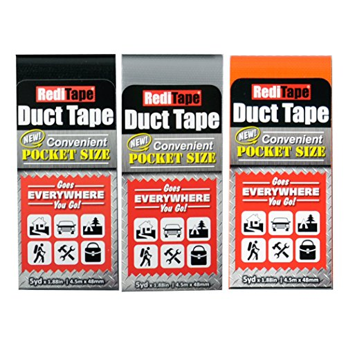 REDITAPE Travel Size Flat Fold Duct Tape | Multi-Pack Gaffer Tape: Black, Orange, Silver | 3 Pack (10932)