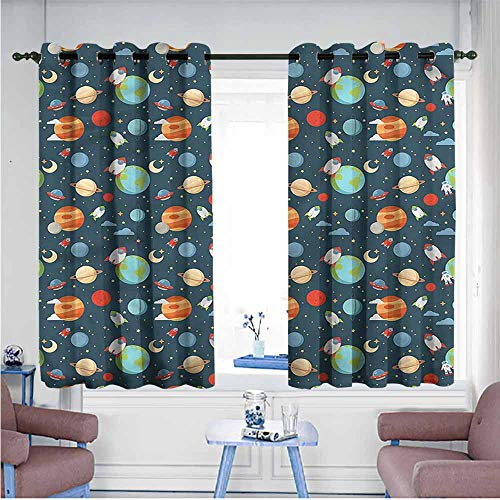 Mdxizc Noise Reduction Curtain Boys Cartoon Planets in Space Bedroom Blackout Curtains W63 xL72 Suitable for Bedroom,Living,Room,Study, etc. (Fall Out Boy Champagne For My Real Friends)