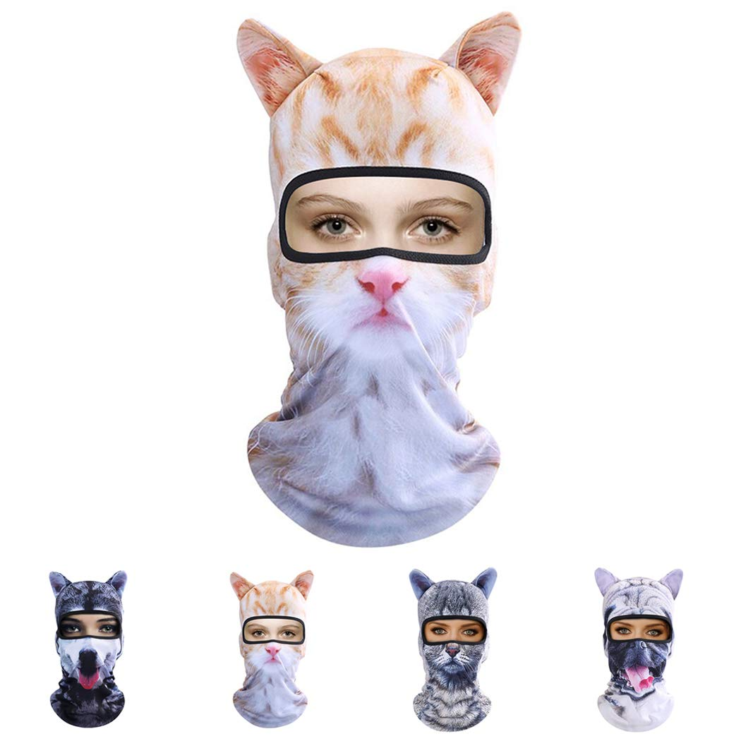 Outgeek Cat Mask Women Men Balaclava Summer Full Face Hat Animal Ears Sports Helmet Climbing Fishing Cap