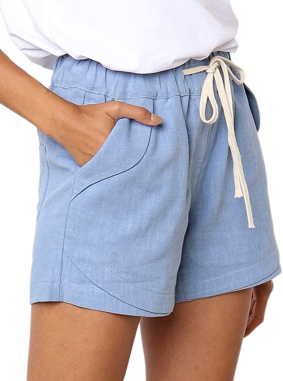 S-XXL CILKOO Womens Drawstring Elastic Waist Casual Comfy Cotton Linen Beach Shorts