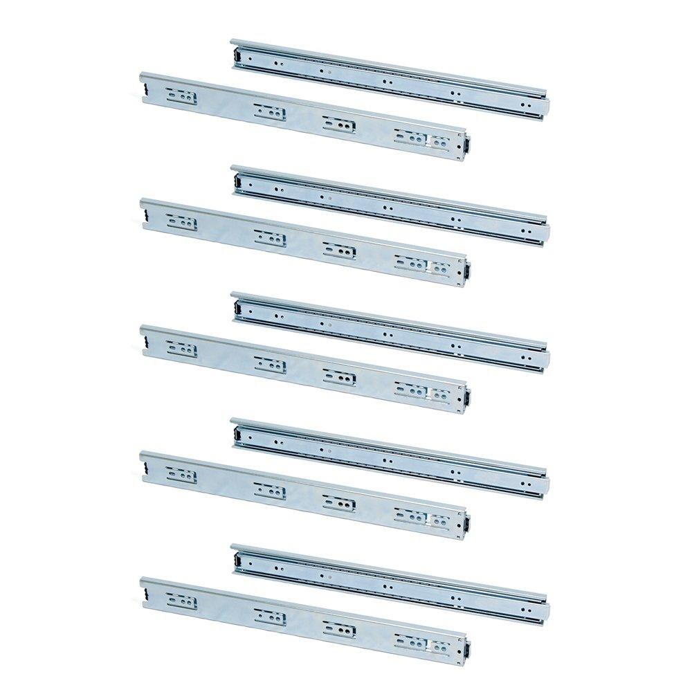 Emuca 3043405 Paire de coulisses//glissi/ères /à billes sortie totale 45mm x 400mm pour tiroir Lot de 5