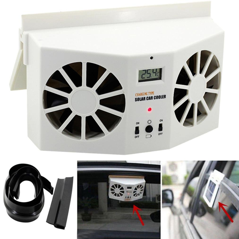 Creazy Solar Powered CarウィンドウAir Vent Ventilator Mini Air Conditionerクールファン B073XKTMCY