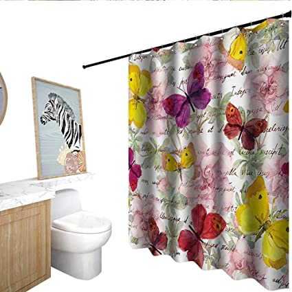 Homecoco Butterflies Fabric Shower Curtain Flowers And Text Camellia Valentines Love Letters Romantic Calligraphy Antique