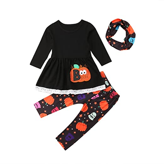 2542231f5 Amazon.com  MLCHNCO Baby Girl Halloween Outfit Set Pumpkin Long ...