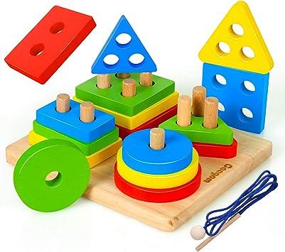 Coogam Juguetes de clasificación y apilamiento de Madera, Bloques geométricos de reconocimiento de Color de Formas, Rompecabezas a Juego con cordón, Juego de Mesa Educativo: Amazon.es: Juguetes y juegos