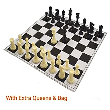 17X17 Tournament Chess Set - Filled Solid Chess Pieces with (Two Extra Queens) & Black Roll-Up Vinyl Chess Board by-Wigano
