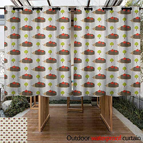 (AndyTours Pergola Curtain,Hedgehog,Porcupine Animals with Big Smiles Carrying Apples on Polka Dot Backdrop with Trees,Great for Living Rooms & Bedrooms,K160C160 Multicolor)