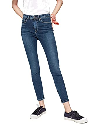54efcb70a99405 Pepe Jeans Damen Cher High Skinny Jeans Herren Blau (Dark Used Denim Cn6)  W24