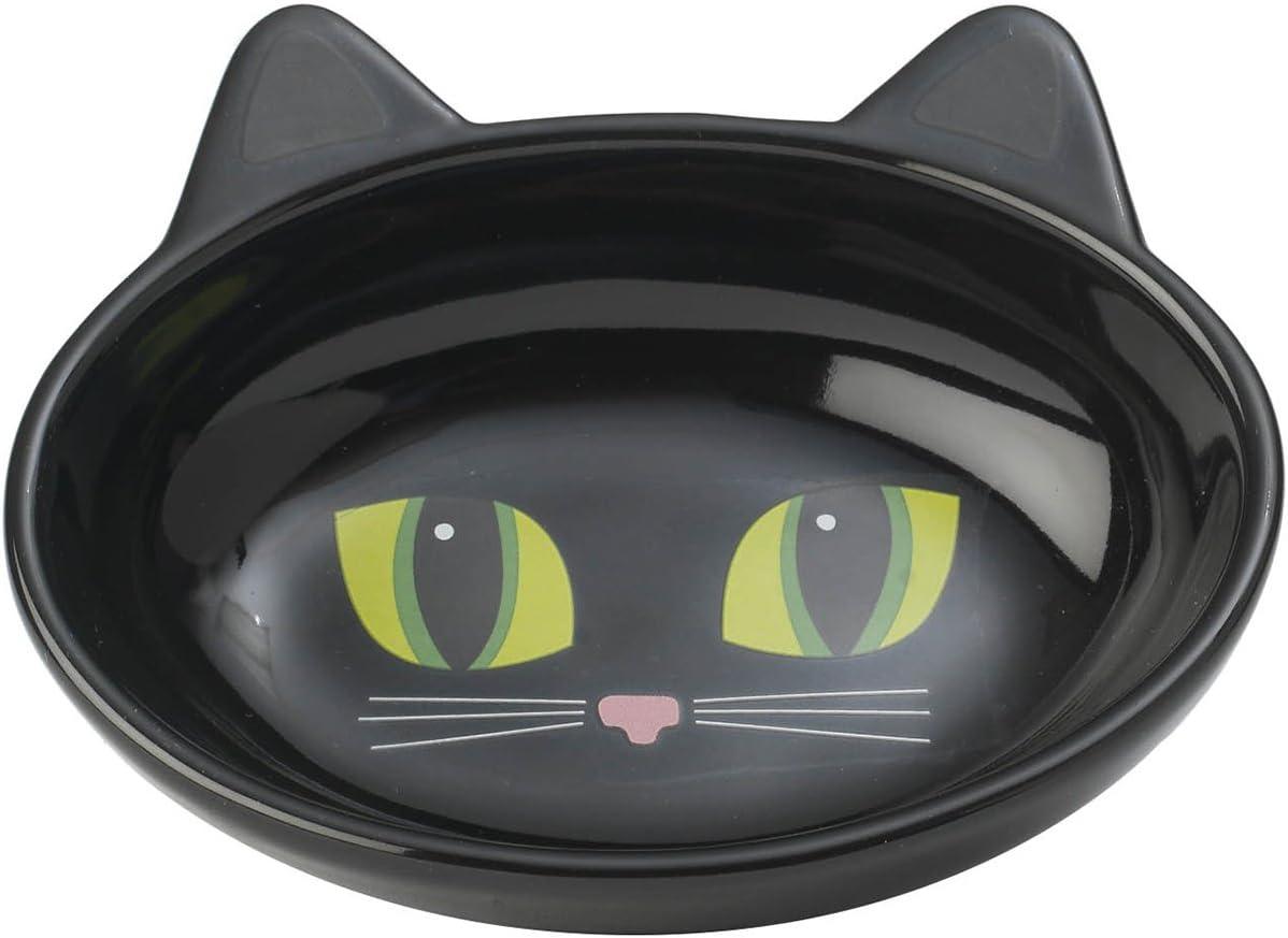 PetRageous Oval Frisky Kitty Pet Bowl, 5.5-Inch, Black
