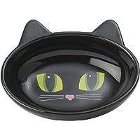 """Frisky Kitty Cat Bowl, 5.5"""" Oval Black, Black"""