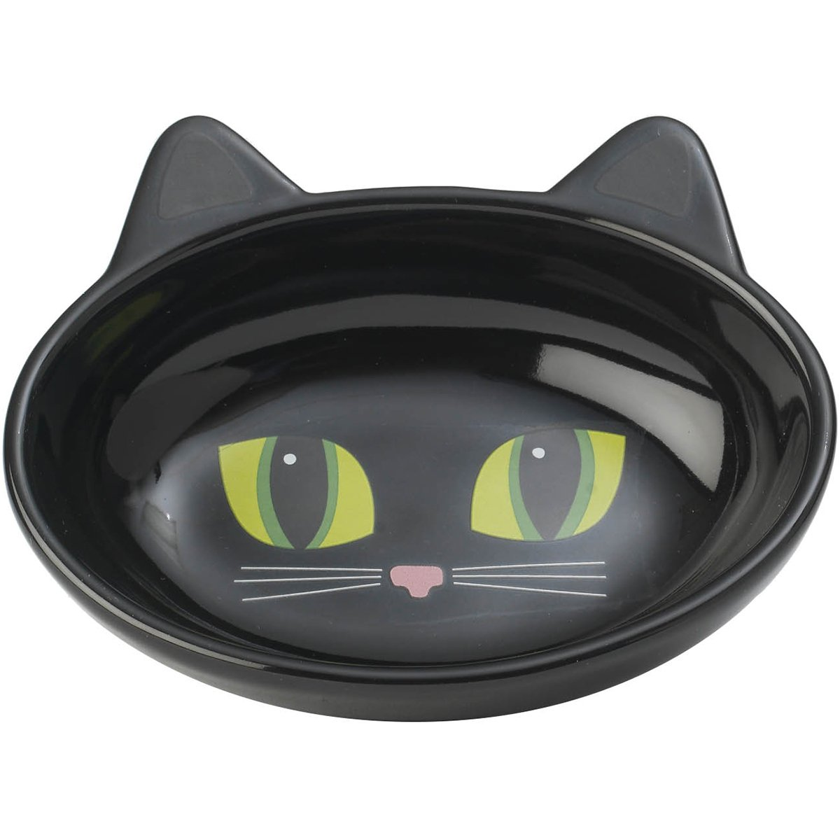 PetRageous Oval Frisky Kitty Pet Bowl, 5.5-Inch, Black