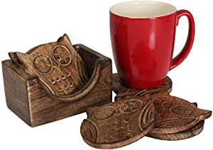 Nirvana Class Wooden Crafted Coaster Set Of 6 With Coasters Holder For Drink Bar Coaster Tea Coffee Mug Tabletop Barware Drink Handmade Dining Home Decor (Owl Shape)