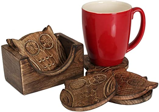 Nirvana Class Wooden Crafted Coaster (Owl Shape)