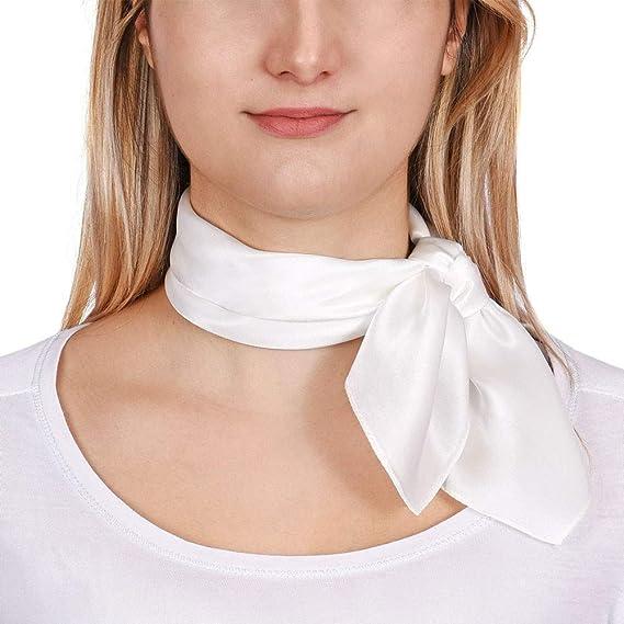 Allée du foulard Carré de soie Piccolo BLANC uni - 50x50 cm  Amazon ... 7ce27121a4c