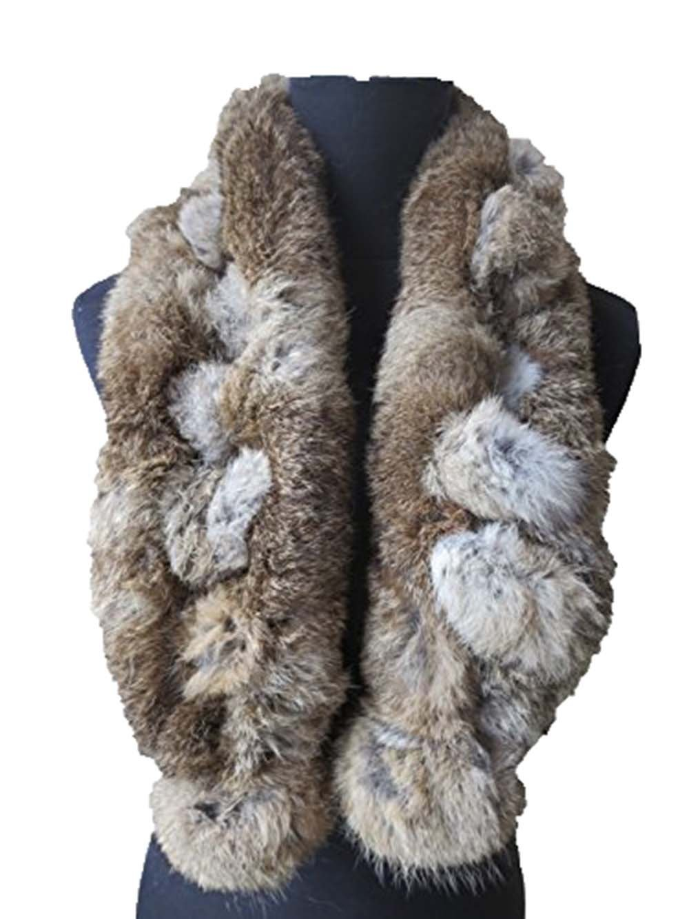 Real Rabbit Fur Scarf Warm Wearing Convenient Multiple Color Options (natural brown)