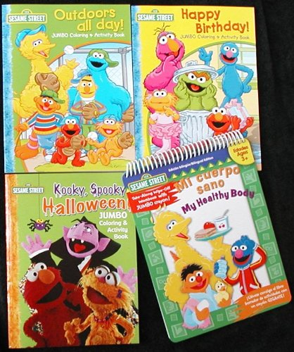 Set of 4 Sesame Street Coloring & Activity Books - Birthday. Halloween, Healthy Body & Outdoors All Day -