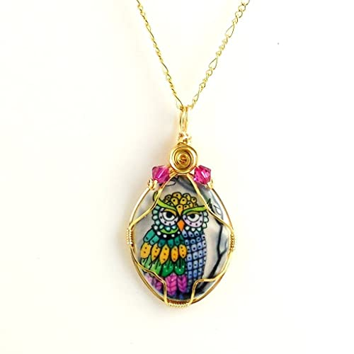Amazon handcrafted wire wrapped porcelain owl cabochon pendant handcrafted wire wrapped porcelain owl cabochon pendant necklace with 18 inch chain aloadofball Choice Image