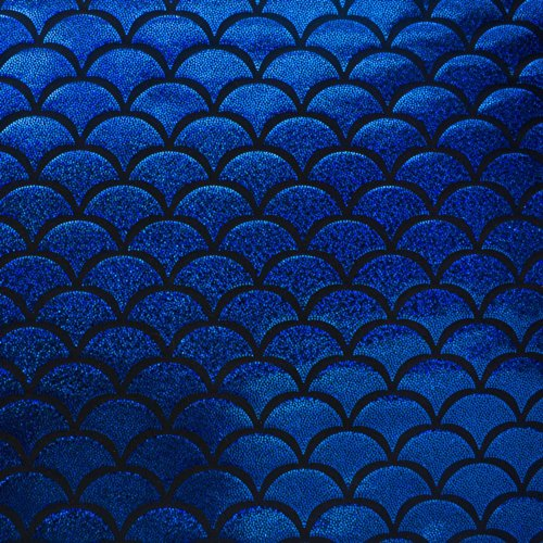 Mystic hologram jumbo fish scale stretch spandex royal for Fish scale fabric