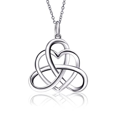 925 Sterling Silver Vintage Good Luck Irish Celtic Knot Triangle Love Heart Pendant Necklace, 18''
