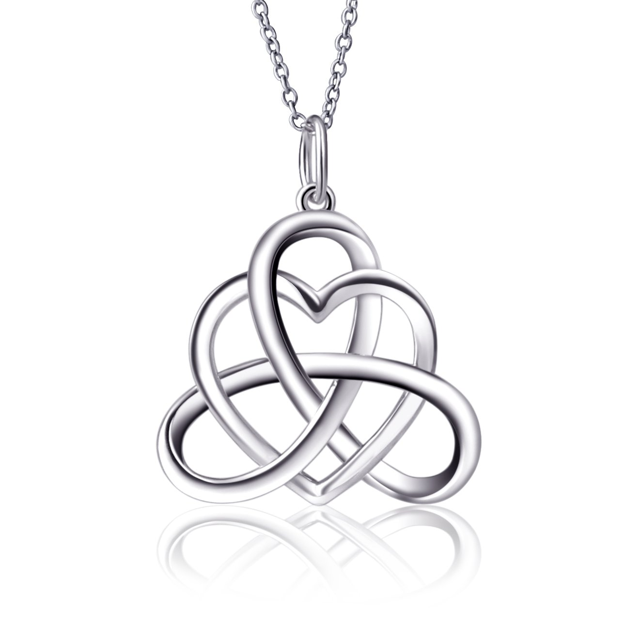 925 Sterling Silver Good Luck Irish Heart with Triangle Celtic Knot Vintage Pendant Necklace, Rolo Chain 18''