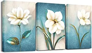 Bathroom Decor Wall Art For Living Room - Bathroom Pictures Wall Decor Canvas Art Floral Artwork ,Canvas Printed Matter With Wooden Frame Ready to Hang 12x16inchesx3pcs