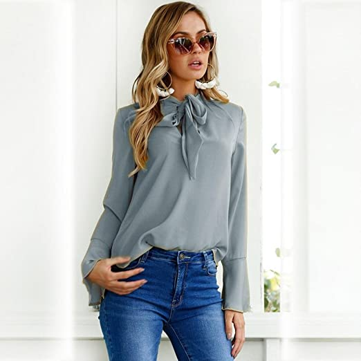 Amazon.com: FORUU womens Tops & Tees Blouse, Womens Long Flare Sleeve V Neck Hollow Out Casual Tops Shirts Tee FORUU: Clothing