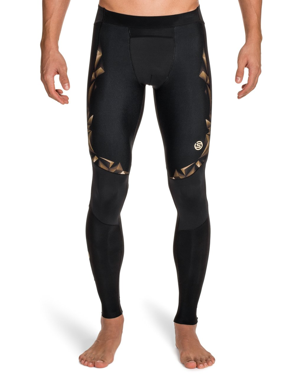 Skins Men's A400 Compression Long Tights, Black/Gold, XX-Large by Skins (Image #1)