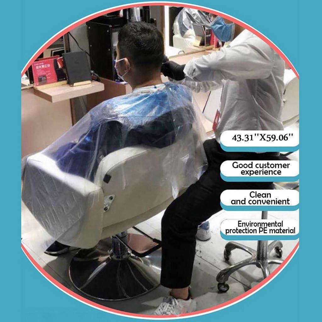 Coedfa Hair Cutting Capes,Barber Cape 100pcs Waterproof Disposable Hair Salon Capes Washing Pads Shampoo Cape Apron Salon Barber Tools Disposable Transparent Salon Shawl