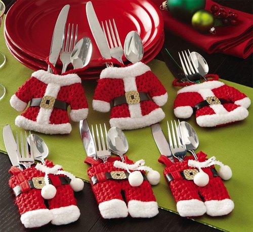 [6 Pcs Christmas Decorations Happy Santa Silverware Holders Pockets Dinner Decor] (College Jungle Party Costume Ideas)
