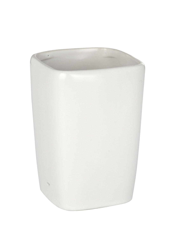 7.5x7.5x10.7 cm Wenko Faro Vaso para Cepillos de Dientes Cer/ámica Blanco