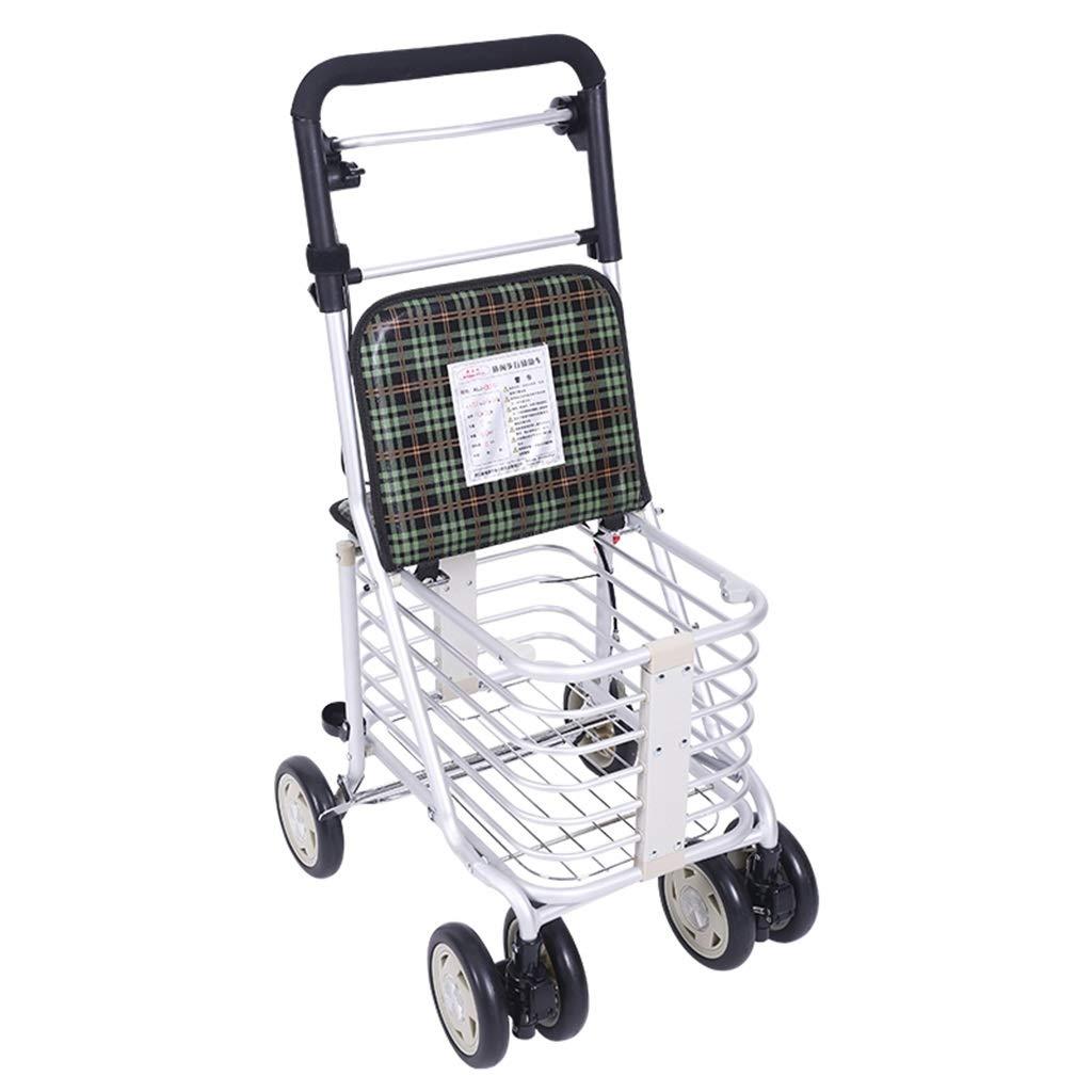 ショッピングカート老人トロリー折りたたみ車椅子ポータブルウォーカーホームショッピングカート付きシートギフト缶詰100 Kg (Color : GREEN, Size : 50*42*84) B07SF6RJ3B GREEN 50*42*84