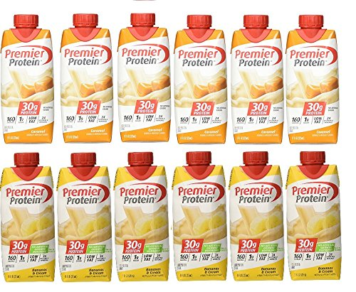 Premier Protein 30g High Protein Shakes 11 Oz. Variety Pack Contains Caramel and Banana (12 ct)