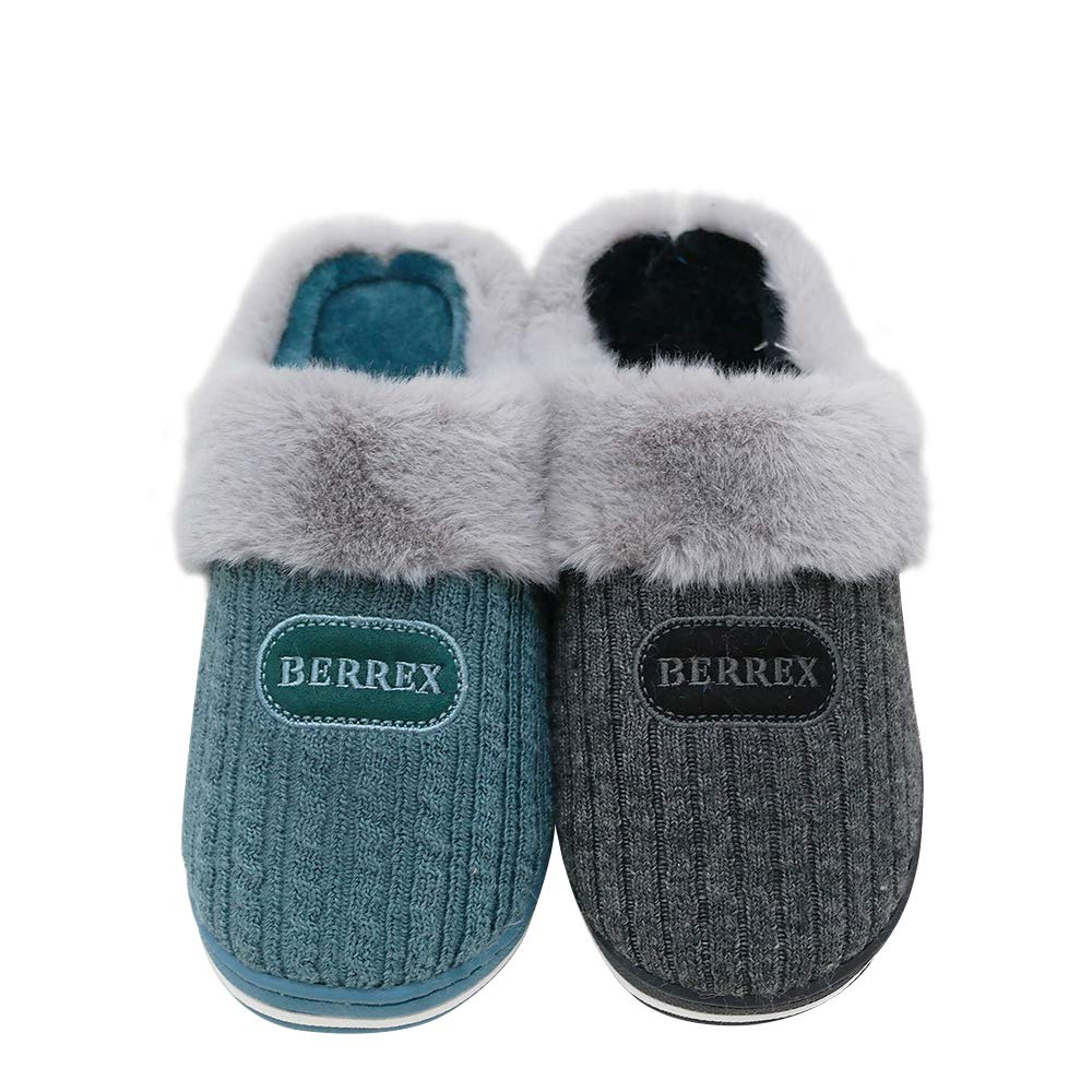 ITAZERO Women Men Knitted Cotton Slippers Warm Fluffy Anti-Skid Sole Indoor/Outdoor Slip-on Shoes