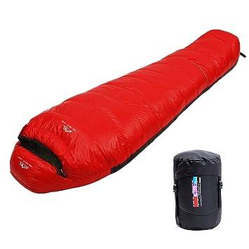 LMR Ultraligero Saco de Dormir Tipo Momia, para las 4 temporadas,a prueba de agua, Saco de compresión (rojo): Amazon.es: Deportes y aire libre