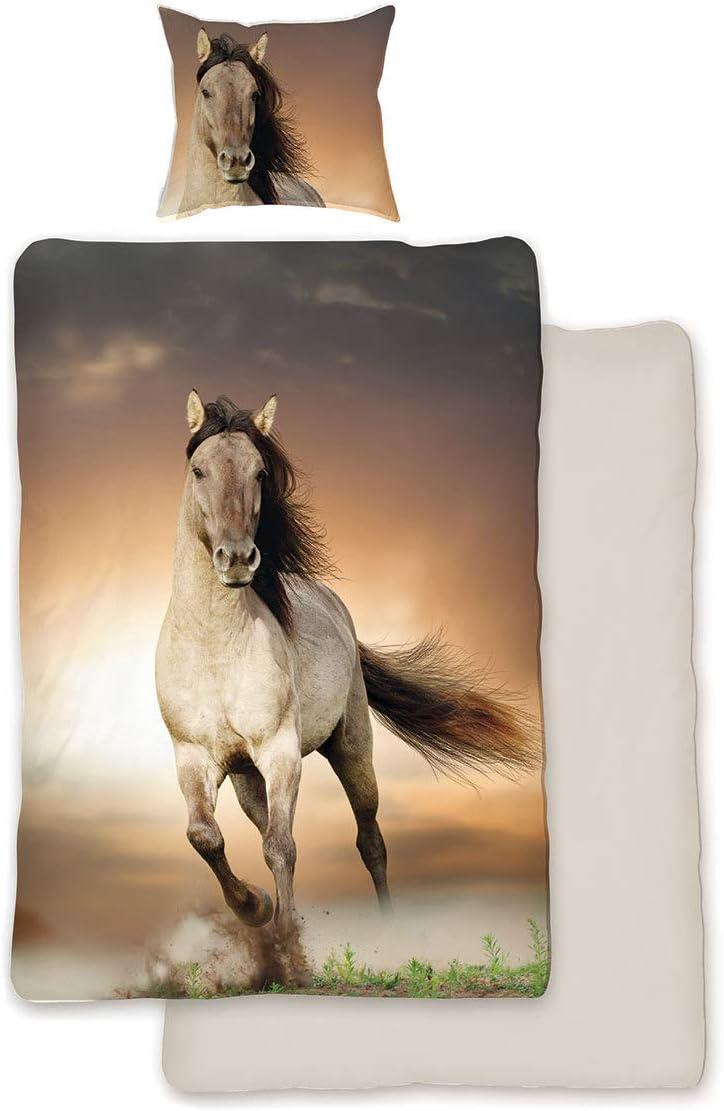 Juego de cama, diseño de caballos, 135 x 200cm y 80 x 80cm