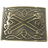 AAR Kilt Belt Buckle Antique Finish Scottish Saltire & Lion Band