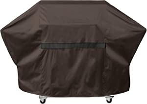 "True Guard Grill Cover Heavy Duty Waterproof - Fits 2-3 Burner Grills, 52"" 600D Rip-Stop, Fade/Stain/UV Resistant, Dark Brown Outdoor BBQ Grill Cover"