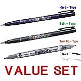 Tombow Fudenosuke Brush Pen (Hard Type) & (Soft Type) & (Twin Tip, Black & Gray) 3pcs VALUE SET