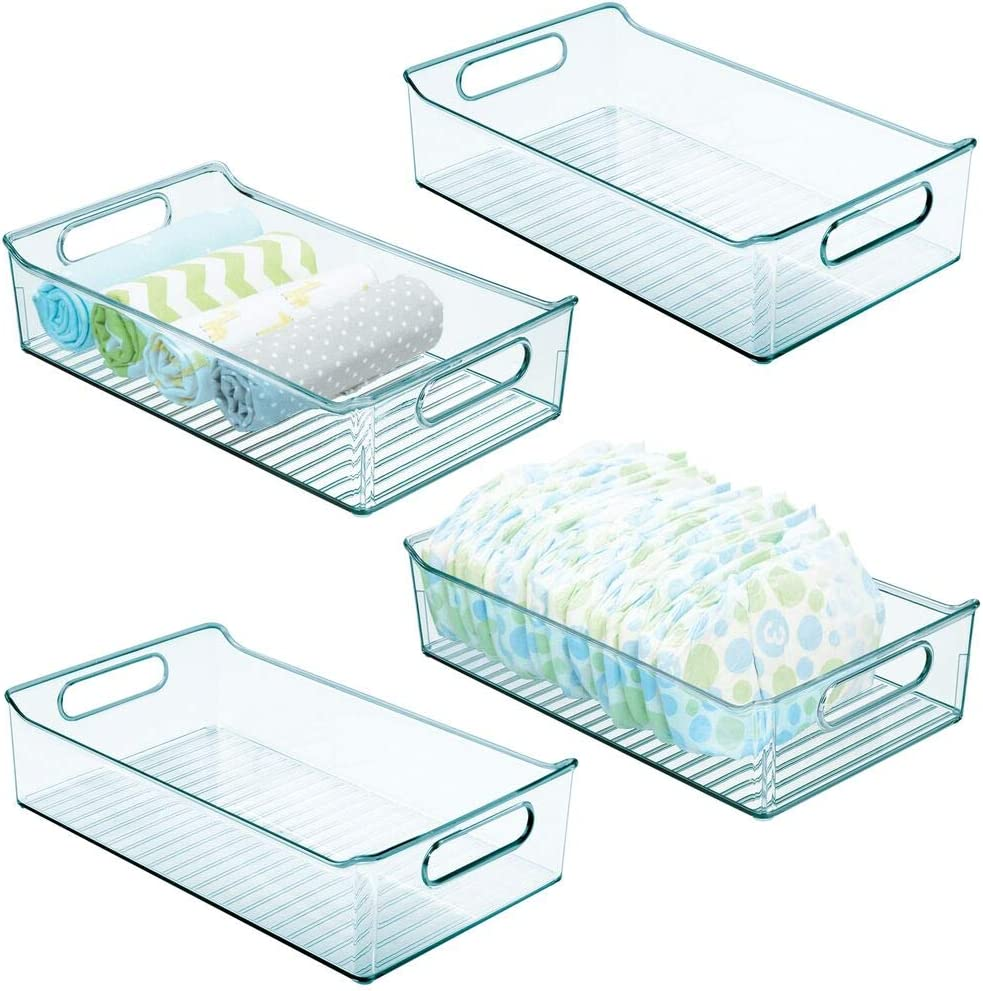 mDesign Wide Storage Organizer Container Bin, Handles for Kids/Child Supplies in Kitchen, Pantry, Nursery, Bedroom, Playroom - Holds Snacks, Bottles, Baby Food - BPA Free, 14